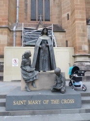 At the base of a sculpture at St. Mary's Cathedral in Sidney, Australia