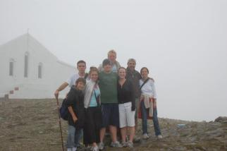Jessie with her brother, Pete, parents and cousins at the top of Crough Patrick in Ireland.