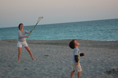 Jessie and Eli playing lacrosse