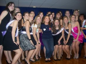 Jessie and sorority sisters on bid night