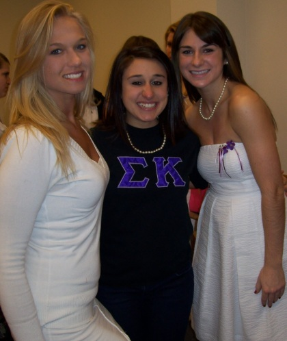 Jessie and sorority sisters, Amanda and Courtney