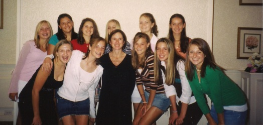 Jessie with her mom and classmates (Seton 2008)