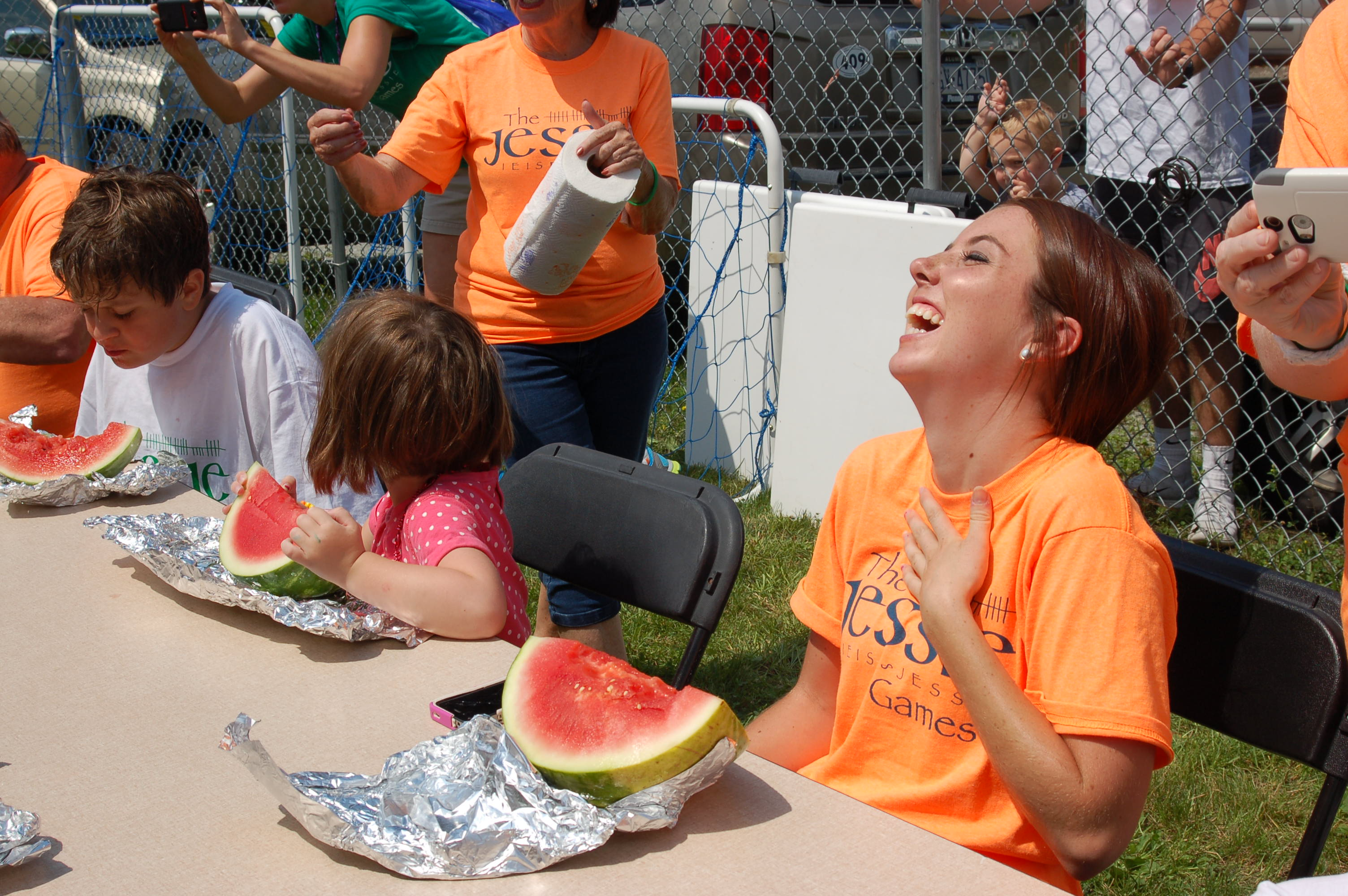 Having a blast at the watermelon eating contest at the 2015 Jessie Games.